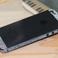 Bumper Side Luxury Glitter Bling Sticker Skin for Iphone 5 Black Color