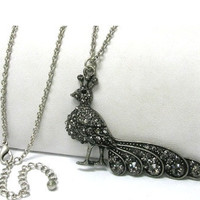 Weekend MEGA SALE: Crystal Stud Burnish Metal Long Peacock Necklace