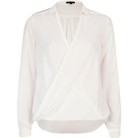Cream long sleeve wrap shirt - blouses / shirts - tops - women