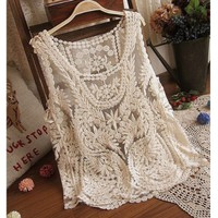 Thinkbay® Womens Lace Floral Sleeveless Crochet Knit Vintage Women Vest Tank Top Shirt