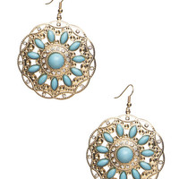 Turquoise Bead Disc Earrings | Wet Seal