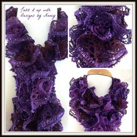 Ladies Thin HandKnit Purple Ruffle Lace Scarf Red Heart Sashay Concord | jazzitupwithdesignsbynancy - Knitting on ArtFir