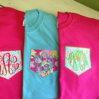 Short Sleeve Monogrammed Pocket Tee - Lilly Pulitzer Fabric Pocket Square - Style 1