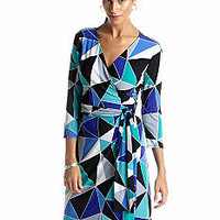 Evan-Picone Dress Three-Quarter Sleeve Printed Mock Wrap Dress -