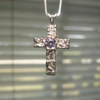 Amethyst Cross Sterling Silver Necklace