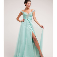 (PRE-ORDER) 2014 Prom Dresses - Mint Beaded Cap Sleeve Dress