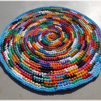 Rag Rug Round Multi Color Recycled, Eco Friendly