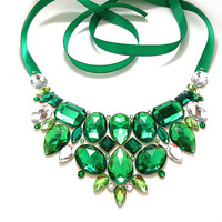 Green Rhinestone Bib Necklace, Green Statement Necklace, Jeweled Bib, Green Bridesmaid Necklace