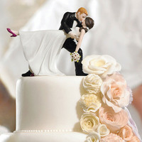 Dancing Bride and Groom Couple Cake Topper - Piece of Cake Wedding Decor