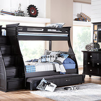 Belmar Black 6 Pc Twin Full Step Storage Bunk Bedroom