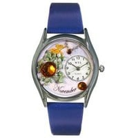 Whimsical Womens Birthstone: November Royal Blue Leather Watch