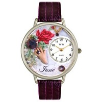 Whimsical Unisex Birthstone: June Purple Leather Watch