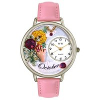 Whimsical Unisex Birthstone: October Pink Leather Watch