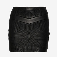 IRO Geometric Stitch Leather Skirt | Shop IntermixOnline.com
