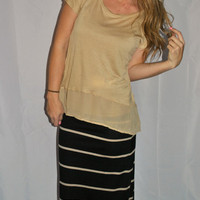 SANDY STRIPED TAN/BLACK MAXI SKIRT