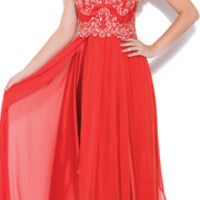 2014 Prom Dresses - Cinnamon Sequined Lace Overlay Strapless Prom Dress
