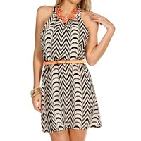 IvBlkGry Chevron Belted Summer Dress