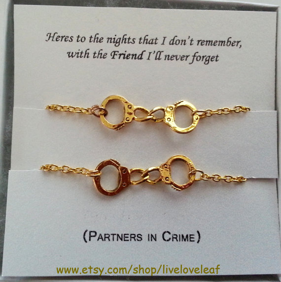 Gold Best Friend Bracelets: Partners In Crime Matching Best Friends From LiveLoveLeaf