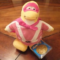 """NEW Disney Club Penguin 6 1/2"""" Plush Toy Series 2 Gamma Gal with Gold Coin"""
