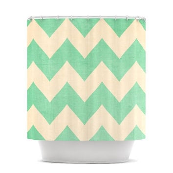"Catherine McDonald ""Malibu"" Mint Green Chevron Shower Curtain"