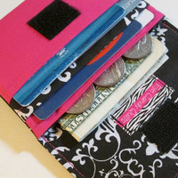 Black and Pink Wallet, Designer Wallet, Women's Wallets, Small Wallets, Credit Card Wallets, Fabric Wallets, Wallet with Pockets