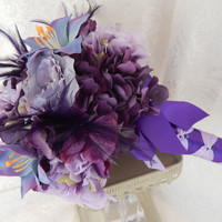 Purple Feather Wedding Bouquet - Lavender Lily Bridal Bouquet- Purple,Lavender,Hydrangea,Lily Wedding Bouquet- Ready To Ship