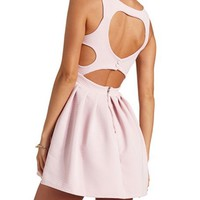 GLITTER HEART CUT-OUT BACKLESS SKATER DRESS