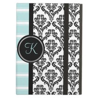 Black Damask Aqua Stripe Monogram Case
