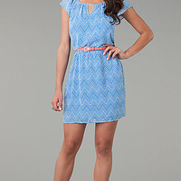 Short Chevron Short Sleeve Dress