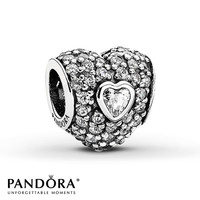 Pandora Heart Charm Cubic Zirconia Sterling Silver