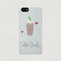 Coffee Break Frappuccino Love Heart iPhone 4 4s 5 5s 5c Case
