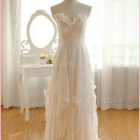 Custom Made White A line Chiffon Long Prom Dresses, White Wedding Dresses, Dress For Prom, Formal Dresses, Graduation Dress 2014