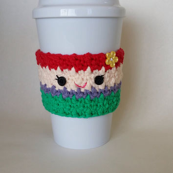 Crocheted Little Mermaid Ariel Coffee Cup Cozy