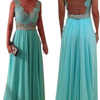Sleeveless Lace Teal Evening Dress (84105) - MADE to ORDER