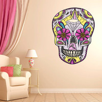 "Mexican Sugar Skull Diamond Wall Decal dia de los muertos Art Vinyl Wall Decal Graphics 22""x16.5"" Home Decor 01"