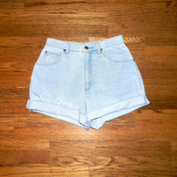 Vintage Denim Cut Offs - Vintage High Waisted 90s Light Wash Blue Jean Shorts - Cut Off/Frayed/Distressed/Rolled Up Lizwear Shorts Size 7/8