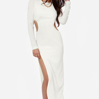 Dress the Population Julie Cutout Ivory Maxi Dress