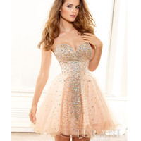 Terani 2014 Prom Dresses - Nude Crystal Strapless Sweetheart Prom Dress