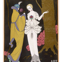 Mantle with a Yoke Voluminous Sleeves and Fur Trim and Close Fitting Hat with Aigrette Giclee Print by Georges Barbier at Art.com