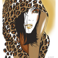 Woman with Leopard Skin Hood Print at Art.com