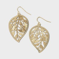 Gold Cutout Leaf Drop Earrings | Claire's
