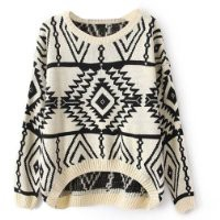 niceeshop(TM) Women's Long Sleeve Geometric Pullovers Knit Sweater Loose Outerwear M-Beige