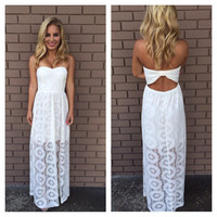 White Doylee Lace Maxi Strapless Dress
