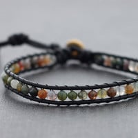 Fancy Jasper Black Leather Beaded Bracelet