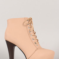 Polish-6 Almond Toe Lace Up Platform Bootie