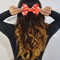Red Polka Dot Hair Bow - Dimeycakes - Hair Bows, Cases, & Apparel