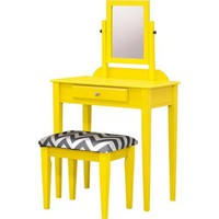 Buttermilk Yellow Contemporary Vanity Makeup Table Set Including Swivel Mirror, Stool, and Drawer for Storage. This Vintage Make up Desk Is Suitable for Bedroom and Bathroom. Square Mirror Brings Light for Beauty, Padded Fabric Seat Brings Comfort.