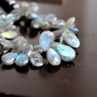Labradorite Briolette Gemstone Teardrop Grey Faceted Pear Blue Flash 11 to 12mm 16 Beads