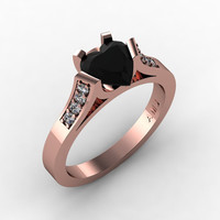 Gorgeous 14K Rose Gold 1.0 Ct Heart Black and White Diamond Modern Wedding Ring, Engagement Ring for Women R663-14KRGDBD
