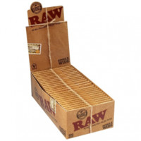 RAW Natural Single Wide Twin Pack Hemp Rolling Papers - Box of 25 Packs - Grasscity.com